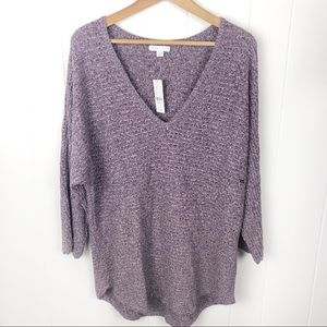 ❤️Ny&co•Purple Marled v neck sweater NWT